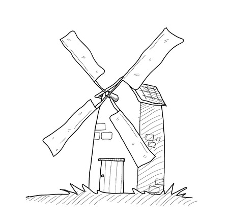 dutch landmark: Windmill Doodle, a hand drawn vector doodle illustration of a Windmill.