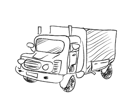 hand truck: Truck Doodle, a hand drawn vector doodle illustration of a truck.