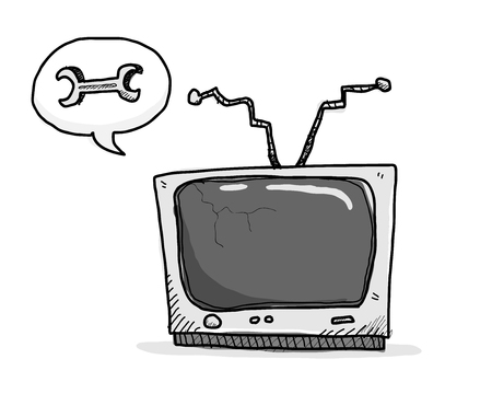 fixing: Broken TV Needs Fixing, a hand drawn vector illustration of an old, broken TV that needs fixing.