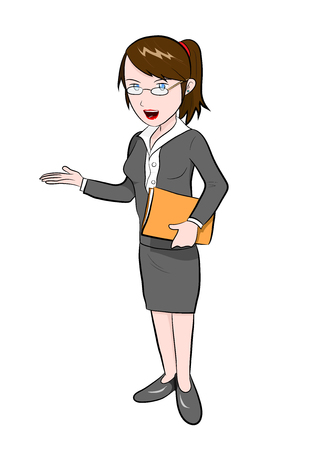 introducing: Career Woman, a hand drawn vector illustration of a career woman.