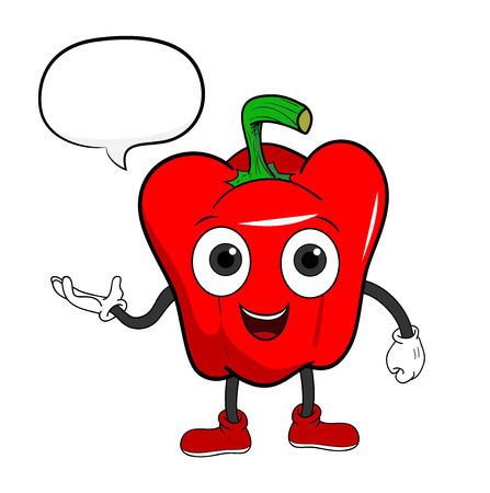 bell pepper: Cartoon Bell Pepper With Text, a hand drawn vector illustration of a cartoon bell pepper character with a blank narration bubble. Illustration