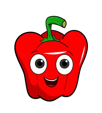 bell pepper: Cartoon Bell Pepper, a hand drawn vector illustration of a cartoon bell pepper character.