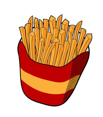 food industry: Fries, a hand drawn vector illustration of french fries.