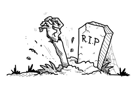 Grave Doodle, a hand drawn vector doodle illustration of a grave with the arm of a zombie sticking out from the ground.