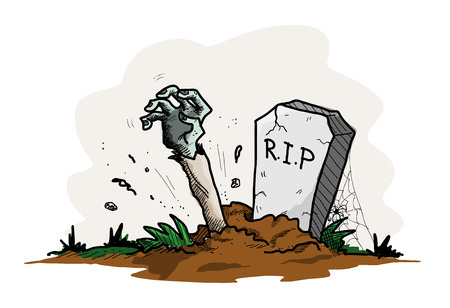 Grave Zombie, a hand drawn vector illustration of a grave with the arm of a zombie sticking out from the ground, isolated on a simple background editable.