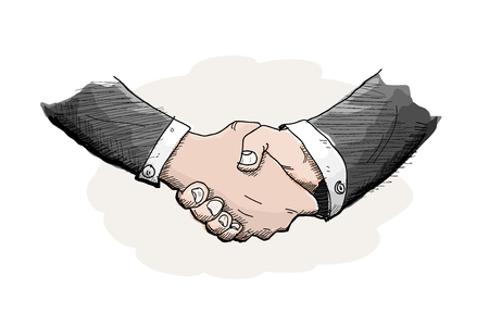 agreement shaking hands: Shaking Hands, a hand drawn vector illustration of the act of shaking hands out of business agreement, isolated on a simple background editable.
