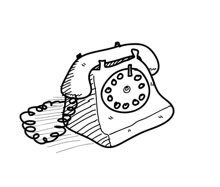 cable telefono: Telephone Doodle, a hand drawn vector doodle illustration of an old fashioned home telephone with cable. Vectores
