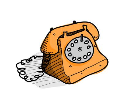 cable telefono: Teléfono, un ejemplo del vector dibujado a mano de un viejo teléfono de moda con el cable. Vectores
