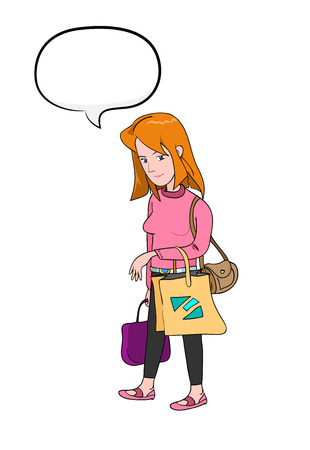 wealthy lifestyle: Shopping Woman With Text, a hand drawn vector illustration of a woman carrying shopping bags with a blank narration bubble. Illustration