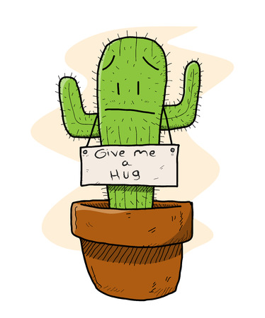 irony: Cactus, a hand drawn vector illustration of a sad cactus which is ironically asking for a hug nobody wants to hug a cactus, you know..