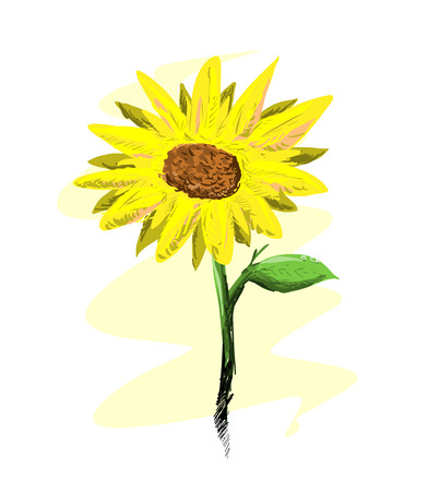 morning dew: Sunflower, a hand drawn vector illustration of a fresh, beautiful sunflower features morning dew on its leaf, isolated on a simple background editable.