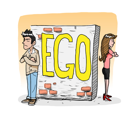 cocky: Ego, a hand drawn vector illustration of a man and a woman avoid each other because of the ego, it creates a wall that shuts away people from them editable.