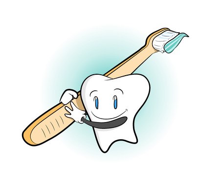 grabbing: Tooth and Toothbrush, a hand drawn vector illustration of a cartoon tooth character grabbing a toothbrush, isolated on a simple background editable.
