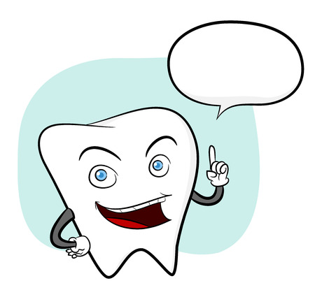narration: Tooth With Text, a hand drawn vector illustration of a cartoon tooth with a blank narration bubble, isolated on a simple background editable.