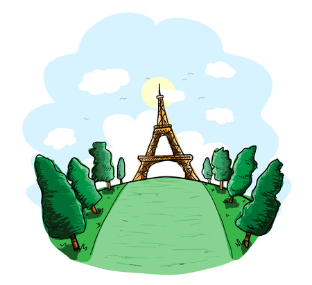 historical landmark: Eiffel Tower, a hand drawn vector illustration of Eiffel Tower, a famous tower in France. Illustration