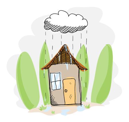 nubes caricatura: Día lluvioso, un ejemplo del vector dibujado a mano de una casa en un día lluvioso.