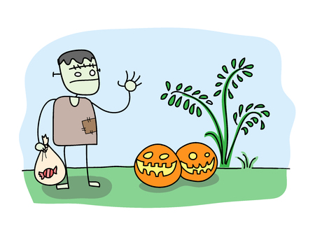 zombie cartoon: Trick or Treat, a hand drawn vector illustration of a zombie holding a bag of candy doing trick or treat with Halloween pumpkins editable.