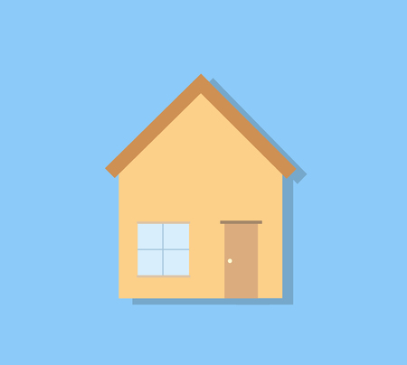 homes for sale: House Icon, a hand drawn vector illustration of a house icon in line art style, isolated on a light aqua blue background editable.