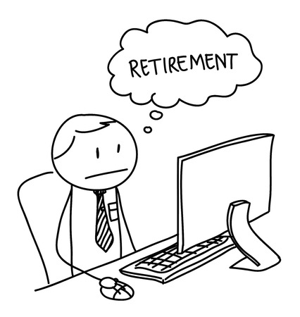 Retirement, a hand drawn vector illustration of a worker thinking of retirement.
