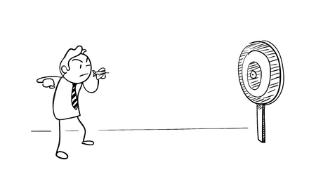 business metaphor: Stay Focus, a hand drawn vector illustration of a business metaphor about an employee that focuses on his target to achieve success. Illustration