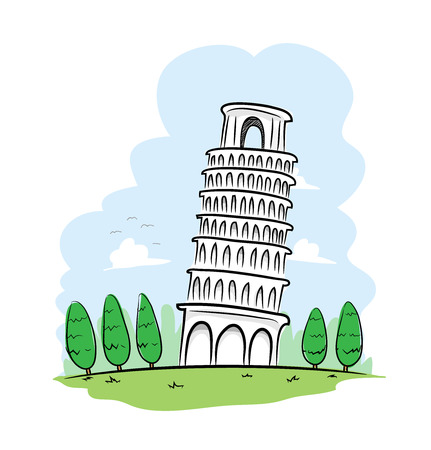 Pisa Tower, a hand drawn vector illustration of the leaning tower of Pisa in Italy.