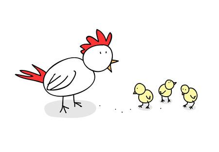 vector illustration  hen: Chickens, a hand drawn vector illustration of a hen and its cute chicks editable.