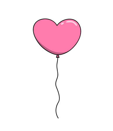 Heart Balloon, a hand drawn vector illustration of a pink heart-shaped balloon, perfect for projects like weddings, Valentine's day, postcard, decoration elements, etc. Vetores