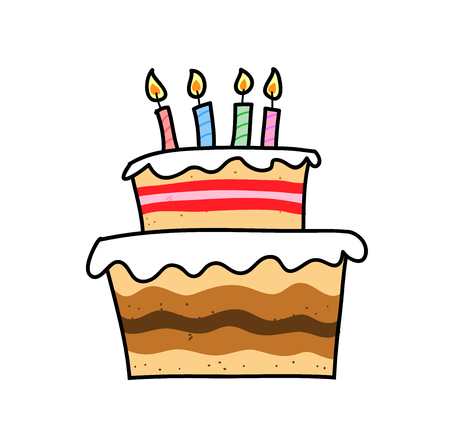 Birthday Cake, a hand drawn vector illustration of a birthday cake with colorful candles on top of it.