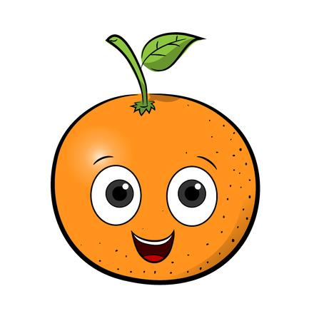 cartoon orange: Orange Cartoon, a hand drawn vector illustration of a cartoon orange with happy face. Illustration