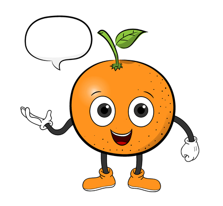 narration: Orange Cartoon With Text, a hand drawn vector illustration of an orange cartoon character with a blank narration bubble editable. Illustration