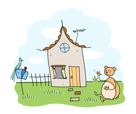 Home Sweet Home, a hand drawn vector illustration of a lovely house, inhabited by a friendly and funny bear.