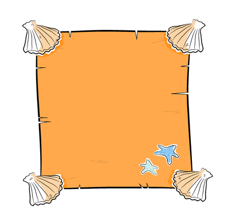 seashell: Seashells Frame, a hand drawn vector illustration of a blank sandy-colored paper with seashells as its frame, you can fill it with various text for your project needs.