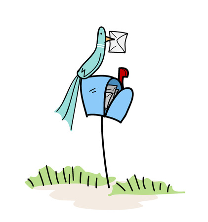 letterbox: Bird On A Letterbox, a hand drawn vector illustrator of a bird on top of a letterbox with a letter in its beak. Illustration