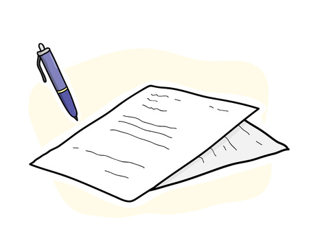 hand work: Business Contract, a hand drawn vector illustration of contract papers and a ballpoint, each objects are on a different group for easy editing including background.