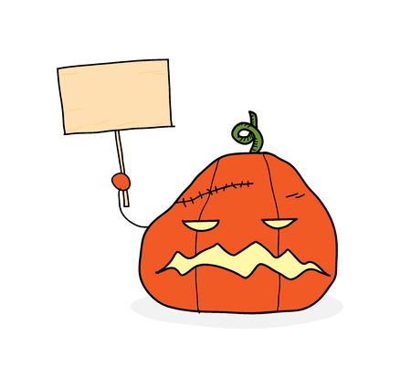 calabaza caricatura: Halloween Pumpkin With Sign, a hand drawn vector illustration of a scary Halloween pumpkin holding a blank sign you can fill it with text for your project. Vectores