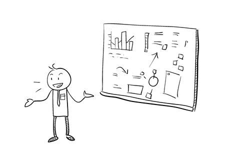 briefing: Business Presentation, a hand draw vector illustration of a stick figure in a business presentation. Illustration
