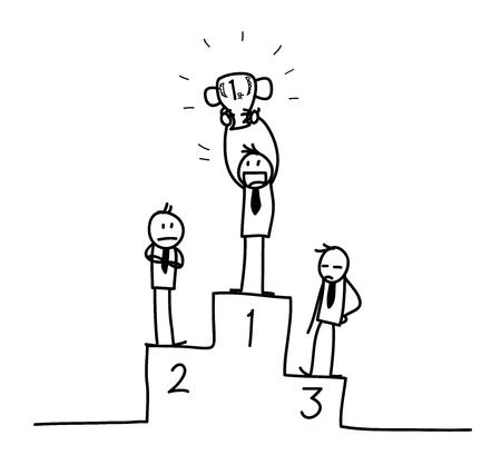 strichm�nnchen: Winner, eine Hand gezeichnete Vektor-Illustration eines Siegers in einem Business-Wettbewerb. Illustration