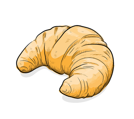 Croissant, a hand drawn vector illustration of a Croissant, sketch, colors, and the shadow are on separate groups for easy editing.