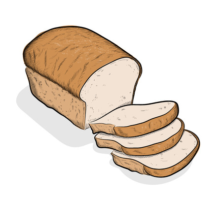 Bread, a hand drawn vector illustration of a sliced off bread, the sketch, colors, and the background shadow are on separate groups for easy editing. Vectores