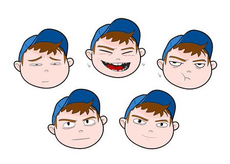 making face: Boy Expressions, a hand drawn vector illustration set of various boy expressions.