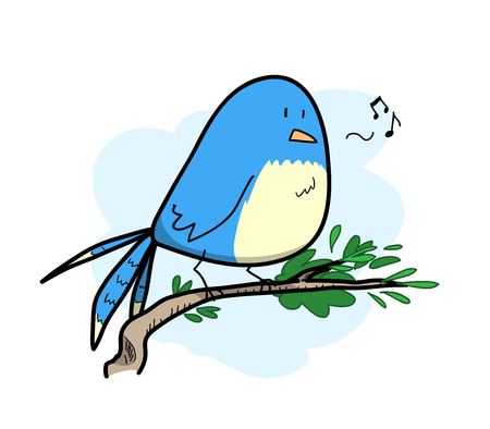 a twig: Cute Bird Singing, a hand drawn vector illustration of a bird standing on a twig, singing happily, isolated on a simple light blue-colored background editable.