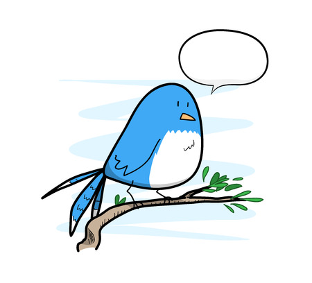 birdsong: Bird With Text, a hand drawn vector illustration of a cute bird standing on a twig with a blank narration bubble, isolated on a simple light blue-colored background editable. Illustration