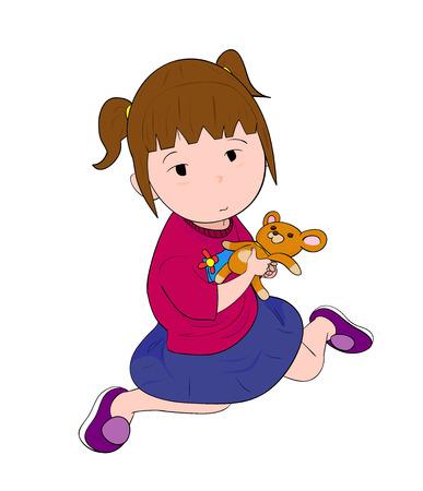 little girl sitting: Little Girl, a hand drawn vector illustration of a little girl sitting, holding her doll. Illustration