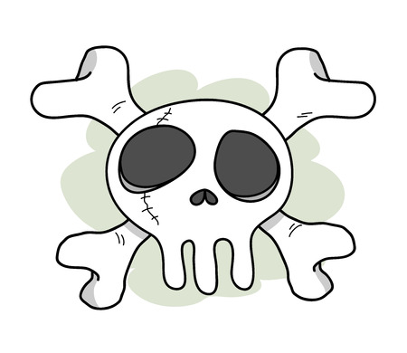 extreme science: Bio Hazard Skull, a hand drawn vector doodle illustration of a skull with crossed bones behind it, isolated on a simple dark green background editable.