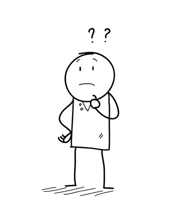 Curiosity Doodle, a hand drawn vector illustration of a curiosity concept, depicting a stick figure character with question marks over his head. Ilustração