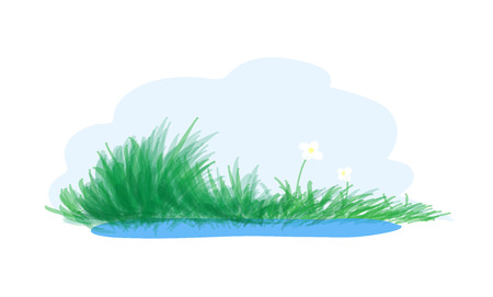 grasses: Pond, a simple hand drawn vector illustration of a pond with grasses and flowers next to it.