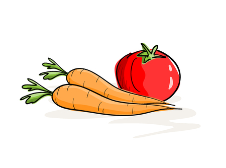Carrots and Tomato, a hand drawn vector illustration of carrots and a tomato, isolated on a simple background editable.