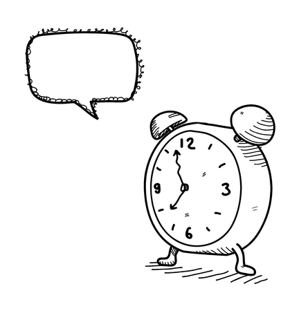 time clock: Clock Doodle, a hand drawn vector doodle illustration of a clock with blank narration bubble editable. Illustration