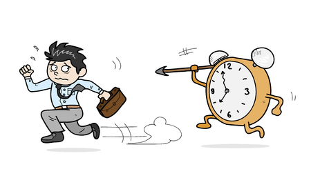 against: Against the Time, a hand drawn vector illustration of a worker racing against the time.