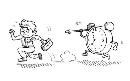 hunted: Late For Work, a hand drawn vector doodle illustration of a worker being late for work and are in a hurry against the time. Illustration
